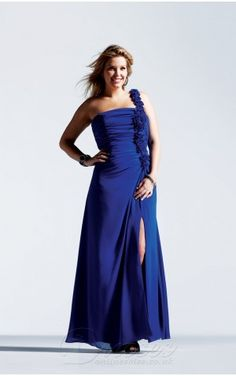 Affordable A-line Floor-length One Shoulder Royal Blue Chiffon Dress