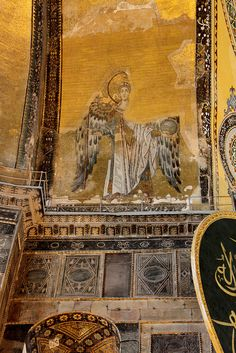 Archangel Gabriel Mosaic in the Hagia Sophia, Istanbul, Turkey Byzantine Architecture, Art And Architecture, Hagia Sophia Istanbul, Byzantine Art, Byzantine Mosaics, Archangel Gabriel, Historical Art, Iron Work, Religious Icons