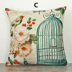 Flower bird pillow Vintage birdcage design linen cushions 18 inch
