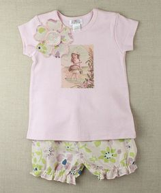 Another great find on #zulily! Pink & Green Vintage Girl Tee & Bloomers - Infant by Truffles Ruffles #zulilyfinds