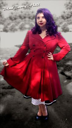BlueBerryHillFashions: Rockabilly Plus Size Double Breasted Coat - Great coat to match up with your Swing Dresses