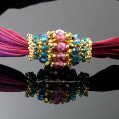 SALE  Pink/Gold Jewel Toned Beaded Bead by KateTractonDesigns, $72.00