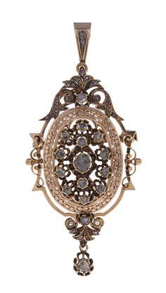 Pendentif-broche XIXe s. en or 750 ouvragé serti de diamants taille rose