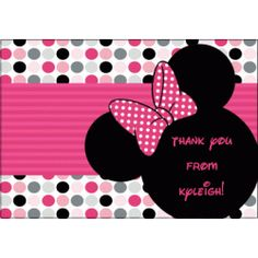 Kids Birthday Thank You Cards Minnie Mouse Ears KBI351TY