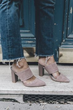 nude mules and frayed denim Crazy Shoes, Me Too Shoes, Blush Shoes, Nude 5601303d97f0