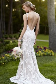 2015 nieuwe trendy v- hals spaghettibandjes kant romantische trouwjurken backless kant bruidsjurken open rug hoge kwaliteit