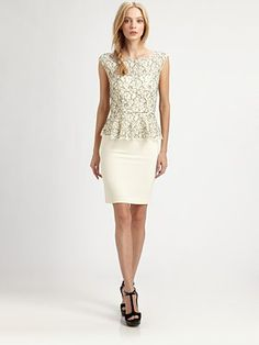 Alice + Olivia - Shovan Lace Peplum Dress - Saks.com