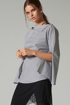 Black White Stripes, Black And White, Effortless Chic, Taylor S, Work Wear, Bell Sleeve Top, Feminine, Space, Sleeves