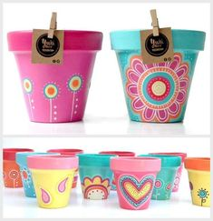 Idea Of Making Plant Pots At Home // Flower Pots From Cement Marbles // Home Decoration Ideas – Top Soop Flower Pot Art, Flower Pot Crafts, Clay Pot Crafts, Clay Pot Projects, Painted Plant Pots, Painted Flower Pots, Decorated Flower Pots, Pot Plante, Diy Garden Projects