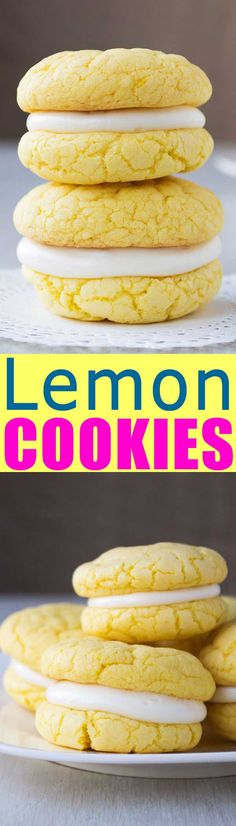 Easy Lemon Sandwich Cookies from cake mix with cream cheese frosting. So soft a… Easy Lemon Sandwich biscuits with fresh cheese glaze. So soft and tough! Delicious Cookie Recipes, Cake Mix Recipes, Best Cookie Recipes, Brownie Recipes, Dessert Recipes, Lemon Cookies, Cake Mix Cookies, Sandwich Cookies, Yummy Cookies