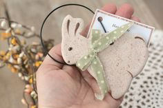 Hand cut, hand painted and finished Salt Dough Bunny Rabbit hanging decoration.  Bunny would look so lovely any where in the home ideal for Easter, Spring decoration, It can be perfect gift for your familly or friends.  This bunny comes wrapped in cello bag and tie a decorative ribbon.  If you wish buy more than one bunny then chose quantity in the drop down menu or send me a message.  Materials: salt dough, acrylic paint, varnish, fabric, wire The bunny measures: 4 tall, 3 wide  This bunny…