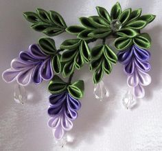 Kanzashi purple wisteria flowers with crystals