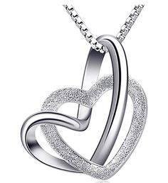 Catcher Necklace Womens Silver Jewelry Forever Love Frosted Interlocked Heart Pendant with Chian *** We appreciate you for visiting our image. (This is an affiliate link) Silver Necklaces, Sterling Silver Pendants, Silver Jewelry, Gold Fashion, Fashion Jewelry, Double Heart Necklace, Incredible Gifts, Trendy Jewelry, Gifts For Wife