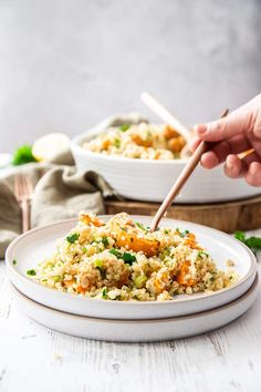 bronze spoon dipping into the salad, which sits on a white ceramic plate, with the large bowl of salad in the background. Sweet Potato Quinoa Salad, Large Bowl, Light Recipes, Main Meals, Fried Rice, Spoon, Side Dishes, Potatoes, Nasi Goreng