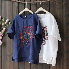 일반옷에 수놓은 자수 모음. : 네이버 블로그 Embroidery On Clothes, Embroidery Patterns, Hand Embroidery, Spring Shirts, Top Free, Casual Tops, T Shirts For Women, Sweatshirts, Lady