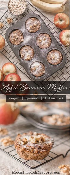 Amazing, healthy apple muffins made with apple, banana and oat flour! Super easy and healthy recipe for vegan, gluten-free and sugar-free muffins. Vegan Breakfast Muffins, Vegan Breakfast Recipes, Vegan Recipes, Fall Recipes, Healthy Muffin Recipes, Healthy Muffins, Vegan Sweets, Vegan Desserts, Apple Banana Muffins