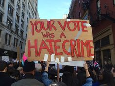 Your vote for Trump is a hate crime. Putting white supremacist KKK Bannon in the WH is a hate crime