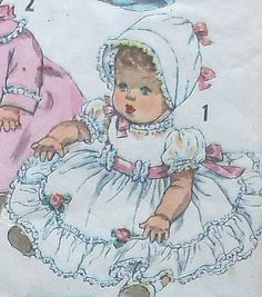 """Vintage 13.5"""" Doll Clothes Sewing Pattern"""