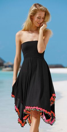 Sunflair 2014 Johns Garden Black Dress Cover Up 23107-05 | South Beach Swimsuits
