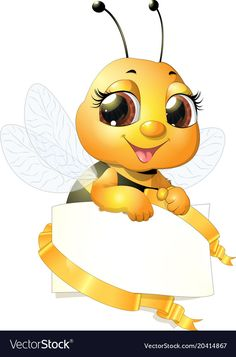 Beautiful cute bee vector image on VectorStock Cartoon Bee, Cute Cartoon, Bee Safe, Bee Pictures, Bee Drawing, Bee Images, Lord Ganesha Paintings, Honey Shop, Cute Bee