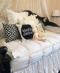 Goldie Dots is one of my favorites! The small gold accents are like jewelry for your bedroom and who doesnt love a great accessory? We love the way kept a classic look with the black and white! Decor Style Home Decor Style Decor Tips Maintenance Shabby Chic Interiors, Shabby Chic Decor, Boho Decor, Vintage Decor, Girls Bedroom, Bedroom Decor, Floral Bedroom, Girl Rooms, Bedroom Ideas