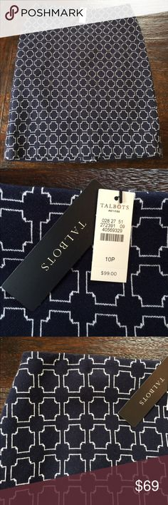 """NWT Talbots Spring Knit Skirt Brand new with tags, never worn! Still has kick pleat stitch in tact. Cute navy and white print spring knit skirt. 21 1/2"""" center back length. Looks great with spring sweaters or crisp white shirt. Smoke free home, no trades. Talbots Skirts"""