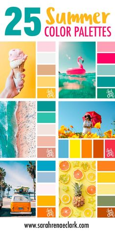25 Summer Color Palettes // Click for more color schemes, mood boards and color combinations inspired by Summer at https://sarahrenaeclark.com #color #colorscheme #colorpalette