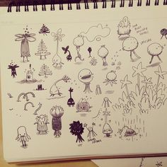 Plant-related creature doodles
