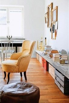 long low shelf... this would work perfectly under the long window bank behind the table.