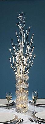27 Pulgadas destello de plata Rama Con 20 Led Blanco Cálido Luces-Con Pilas