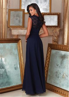 Fantastic Lace & Chiffon Queen Anne Neckline A-Line Bridesmaid Dresses