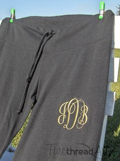Monogram Pants Ladies Lounge Pants with by finethreadart on Etsy, $26.00