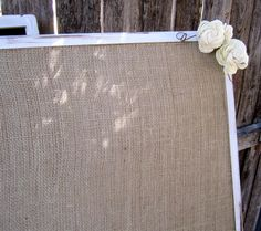 1 XXL Burlap Vintage Rustic Woodland Shabby Chic Wedding Message Menu Board Seating Chart Board. $65.00, via Etsy.