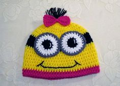 Minion bonneterie Hat  Style Beanie  Photo Prop  par BusterBrowns