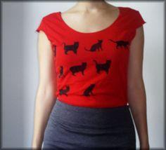 Cat print Women's cotton t shirt by BrooklynCat on Etsy, $25.00