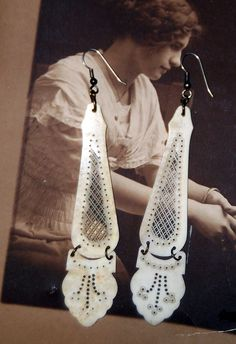 Victorian One of a Kind Ivory Dangle Earrings