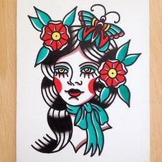 #tattoo #tattoos #flash #traditional #oldschool #classic #canvas #ink #art #drawing