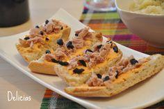 Tosta de crema de pimiento y atún  / Pepper cream and tuna toast Appetizers, Pie, Desserts, Food, Food Recipes, Pinkie Pie, Tailgate Desserts, Pastel, Meal
