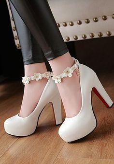 White Round Toe Chunky Flower Patchwork Fashion Buckle High-Heeled Shoes Source by heels classy Cute Heels, Lace Up Heels, Pumps Heels, Stiletto Heels, White High Heels, Shoes High Heels, Mode Adidas, Prom Heels, High Heels For Prom