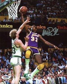 This photo art piece captures Magic Johnson of the Los Angeles Lakers shooting over Larry Bird during the 1985 NBA Finals at the Boston Garden. The Lakers won the Championship 4 games to Nba Pictures, Basketball Pictures, Magic Johnson, Basketball Legends, Basketball Players, Celtics Basketball, Basketball Wall, Basketball History, Nba Mvp Award