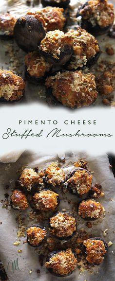 Pimento Cheese Stuffed Mushrooms are a unique take on stuffed mushrooms and are the perfect easy appetizer to prepare for guests | via aimeemars.com | #StuffedMushrooms #PimentoCheese #EasyAppetizer
