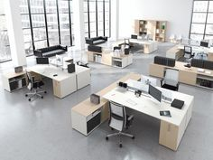 Isola di lavoro per 2 operatori con mobili di servizio e storage