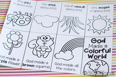When teaching colors to my little ones I want to remind them that our God created all the beautiful colors and this free printable book get the job done. Toddler Bible Lessons, Preschool Bible Lessons, Bible Activities, Free Preschool, Preschool Learning, Preschool Activities, Preschool Projects, Kindergarten Classroom, Kids Crafts