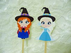 Halloween Frozen Cupcake Toppers / Princess by EclecticallyEmily