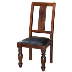"Charleston Dining Chair W/Leather Seat  Mango  20"" W x 23"" D x 43"" H  Finish/Color(s): Dark Espresso/Black"