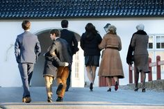Members of the Greek and Danish and s Sayn-Wittgenstein royal families  make their way to the Chancellery House in Fredensborg Palace Christmas Day 2014