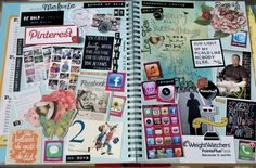 Inspiration -- Hodge Podge Smash Pages --. Very Similar to My Smash Style -- I even have some of the same things that are on this page already on my pinboards waiting to be printed and used.