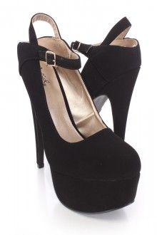 Black Platform Heels Nubuck Faux Leather
