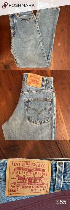"Vintage High Waisted Levi's 550 fit Vintage 550 Levi's size 28 based on waist measurement laying flat 14"" Inseam 34"" Rise 11"" no holes only little distressing on the cuffs shown in picture. Light to medium blue wash. Let me know if you need more pictures or measurements! They don't fit me so I cannot model. Levi's Jeans"