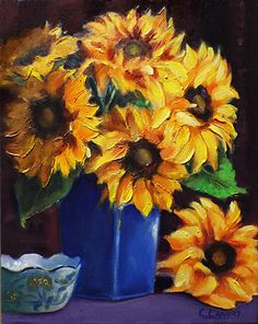 "Glenda's Sunflowers by Carol Landry Oil ~ 14"" x 11"""
